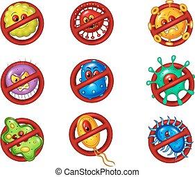 virus, arrêt, illustration