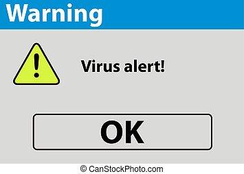 virus, avertissement, alerte, signe
