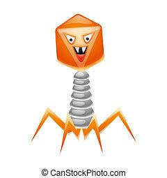 virus, bacteriophage, illustration.