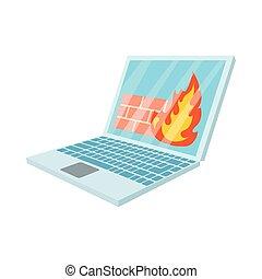virus, icône, style, ordinateur portable, dessin animé