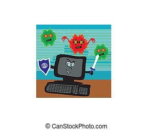 virus, informatique, attaquer