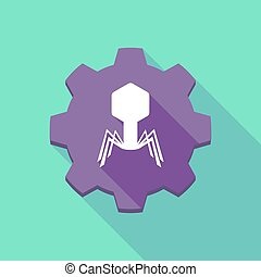 virus, ombre, engrenage, long, icône