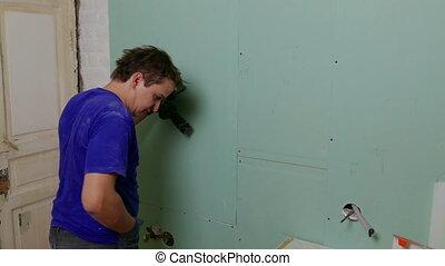 vis, réparateur, tournevis, installer, utilisation, drywall, faire