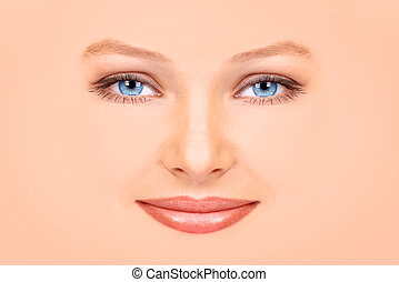 visage femme, beau