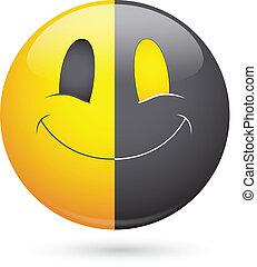 visage smiley, vecteur, noir, moitié, heureux