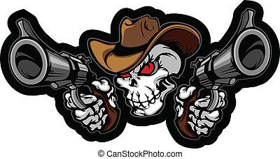 viser, fusils, crâne, cow-boy