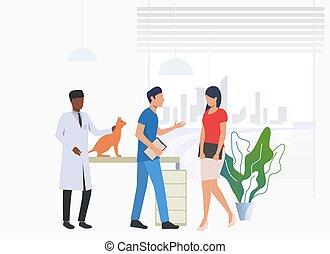 visiter, conversation, médecins, propriétaire, chat, vétérinaire