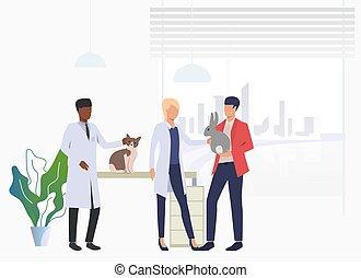 visiter, veterinarians, lapin, propriétaire, chat, vétérinaire, clinique