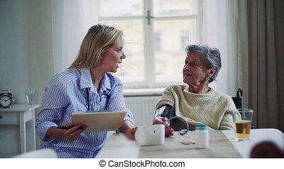 visiteur, mesurer, santé, home., personne agee, sanguine, femme, pression