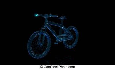 visualisation, vélo, loop., seamless, tourner, arrière-plan., noir, technologie numérique, rayon x, 3d