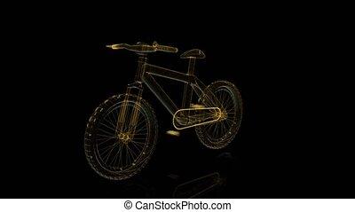 visualisation, vélo, loop., wireframe, seamless, tourner, arrière-plan., noir, technologie numérique, rayon x, 3d