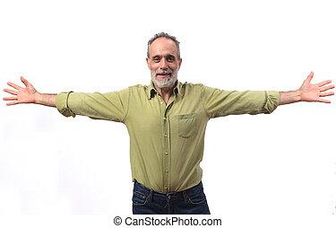 vital, homme, tendu, blanc, bras