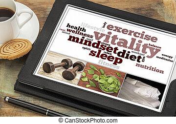 vitalité, tablette, concept, numérique