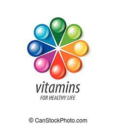 vitamines, logo, vecteur