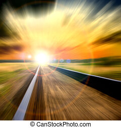 vitesse, brouillé, coucher soleil, chemin fer