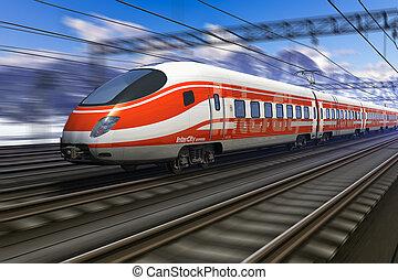 vitesse, brouiller mouvement, train, élevé, moderne