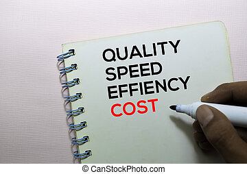 vitesse, bureau, texte, isolé, cout, qualité, efficacité, bureau, livre