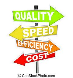 vitesse, différent, coloré, pointage, diriger, -, procédés, priorities, coût production, qualité, efficacité, signes, directions, flèche, plusieurs, représenter