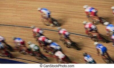 vitesse, mouvement, course, s, brouillé, vélo