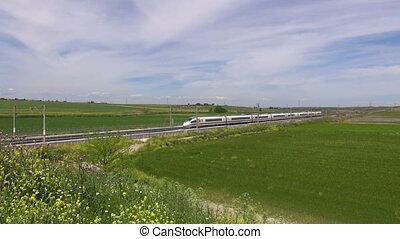 vitesse, paysage, train, élevé