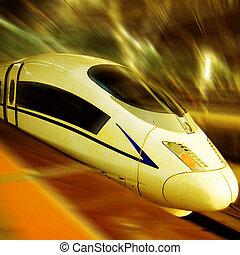 vitesse, train, élevé