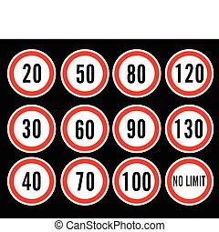 vitesse, vecteur, limite, signes