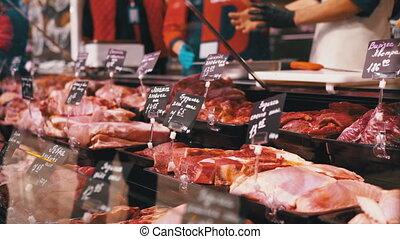 vitrine, magasin, frais, coût, cru, étiquettes, vendeurs, viande