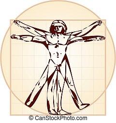 vitruvian homme, version), (stylized