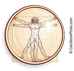 vitruvian, microscope), (under, homme