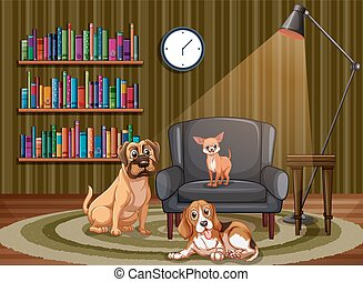 vivant, chiens, salle