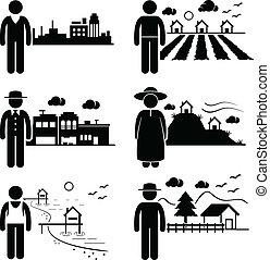 vivant, différent, endroits, gens