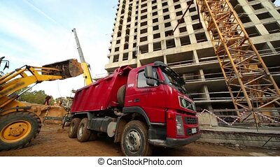 vivant, excavateur, maison, site, construction, camion, chargements