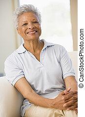 vivant, femme souriante, salle, séance