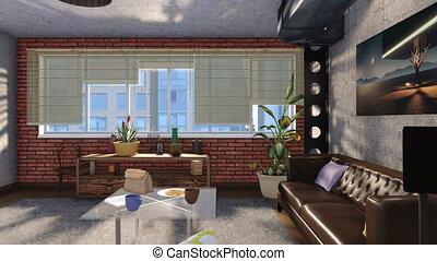 vivant, style, grenier, salle, moderne, conception, intérieur, 3d