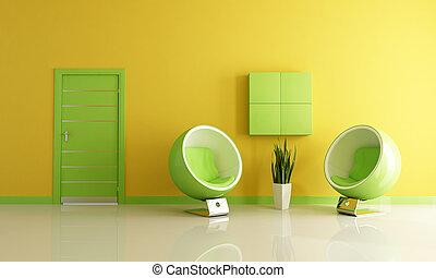 vivant, vert, salle, jaune