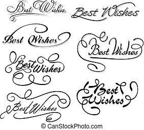 voeux, mieux, éléments, calligraphic
