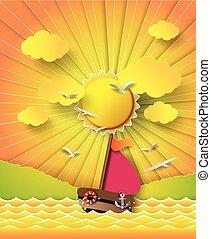 voile, beam., soleil, nuages, bateau