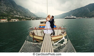 voile, budva, couple, poupe, montenegro, mer, mariage, baisers, bateau