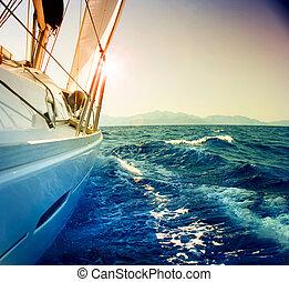 voile, contre, yacht, modifié tonalité, sépia, sunset., sailboat.