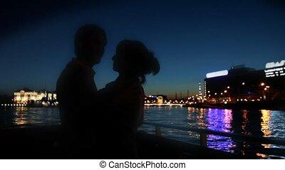 voile, danse, couple, neva, long, rivière, bateau