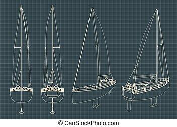 voile, modèles, yacht