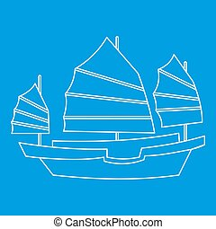 voile, style, icône, bois, chinois, contour, bateau