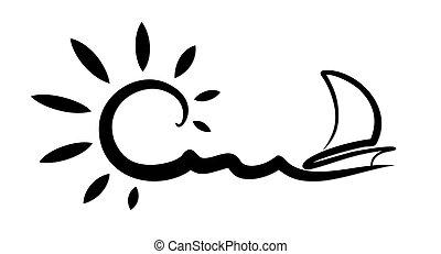 voile, vessel., paysage, mer