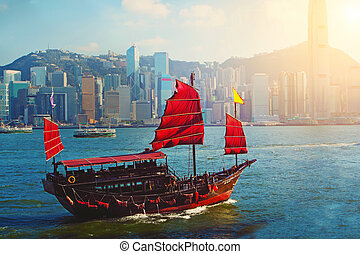 voilier, habour, victoria, chinois, hong kong