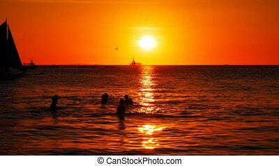 voiliers, coucher soleil, temps