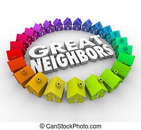 voisins, maisons, grand, mot, accueil, communauté, maisons, anneau