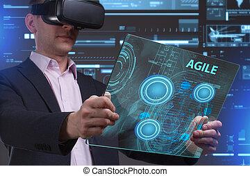 voit, réseau, fonctionnement, inscription:, agile, concept., jeune, virtuel, business, internet, homme affaires, technologie, réalité, lunettes