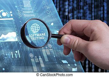 voit, réseau, fonctionnement, inscription:, concept., essai, jeune, virtuel, business, avenir, internet, homme affaires, technologie, écran, logiciel