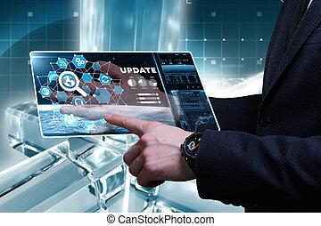 voit, réseau, fonctionnement, inscription:, concept., jeune, virtuel, business, avenir, internet, homme affaires, mise jour, écran, technologie