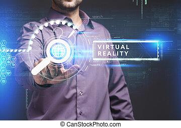 voit, réseau, fonctionnement, inscription:, concept., jeune, virtuel, business, avenir, internet, homme affaires, réalité, écran, technologie